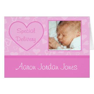 Anúncios do nascimento do bebé da entrega especial cartão comemorativo
