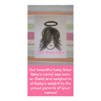 Anúncios do nascimento do bebê da foto cartão com foto