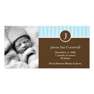 Anúncios do nascimento do monograma e das listras cartao com fotos personalizado