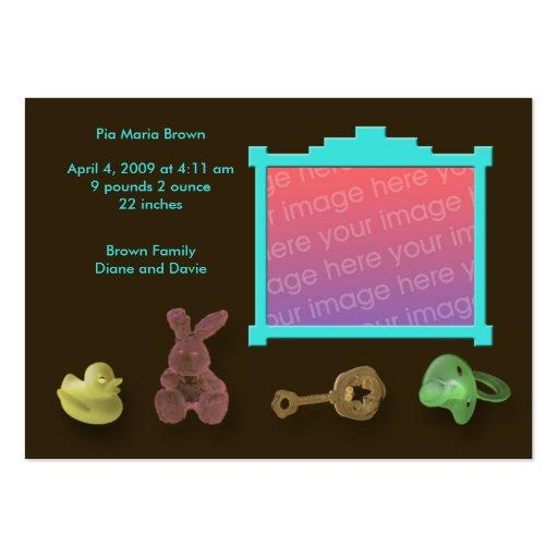 Anúncios do nascimento do quadro da foto modelo de cartões de visita