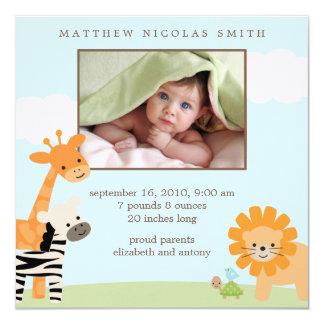 Anúncios do nascimento dos amigos do safari convite quadrado 13.35 x 13.35cm