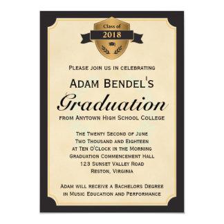 Anúncios formais da graduação do pergaminho do convite 12.7 x 17.78cm