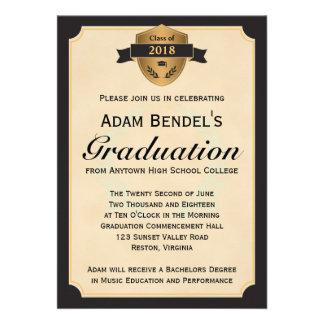 Anúncios formais da graduação do pergaminho do fal convite personalizados