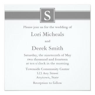 Anúncios Monogrammed cinzentos do casamento Convite Quadrado 13.35 X 13.35cm