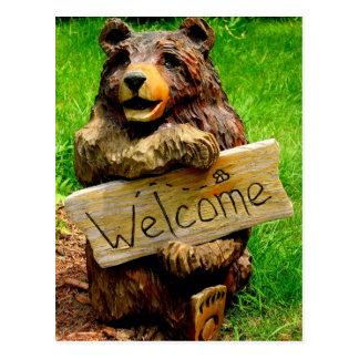 Anúncios moventes do urso bem-vindo cartão postal