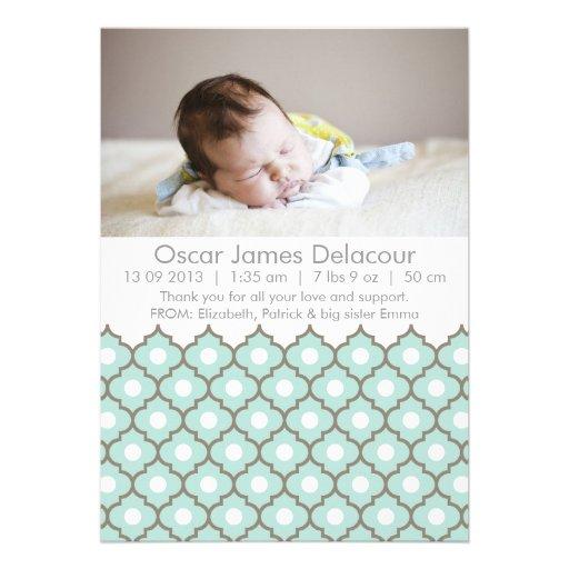 Anúncios ornamentado azuis do nascimento da foto convites personalizado