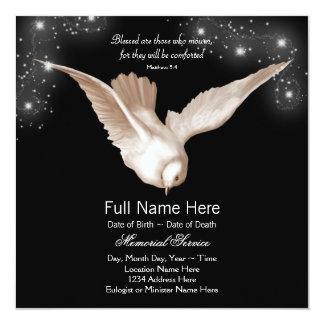 Anúncios pretos da cerimonia comemorativa da pomba convite quadrado 13.35 x 13.35cm