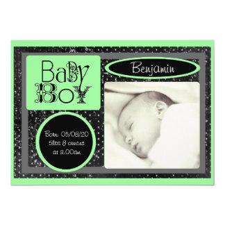 Anúncios verdes brancos pretos da foto do bebé convite 12.7 x 17.78cm