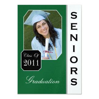 Anúncios verdes clássicos da graduação da foto convite 12.7 x 17.78cm