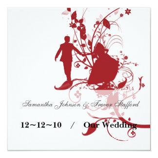 Anúncios vermelhos e brancos do casamento convite quadrado 13.35 x 13.35cm
