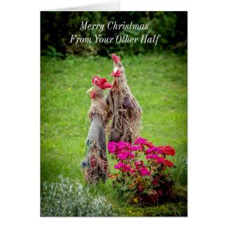 Ao cartão velho do Feliz Natal das galinhas