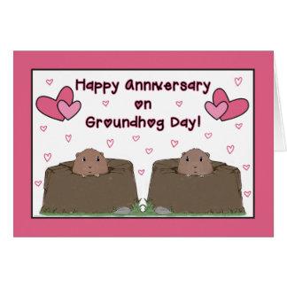 Ao esposo, aniversário feliz no dia de Groundhog Cartão Comemorativo
