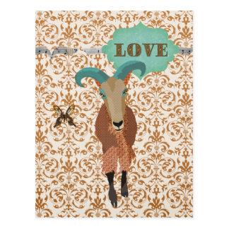 Aoudad de Golddust & amor do cartão do damasco da  Cartoes Postais