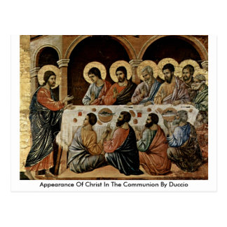 Aparência do cristo no comunhão por Duccio Cartão Postal