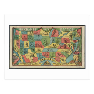 """""""Apelidos dos estados"""" - o vintage EUA traça Cartão Postal"""