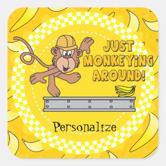 Apenas Monkeying ao redor o tema Adesivo Em Forma Quadrada