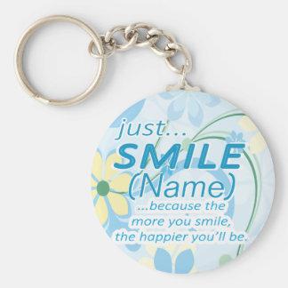 Apenas o sorriso adiciona um nome chaveiro