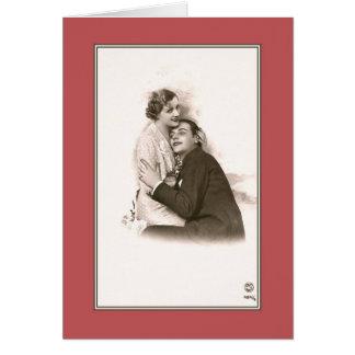 Aperto do casal da foto de Paris do vintage Cartão