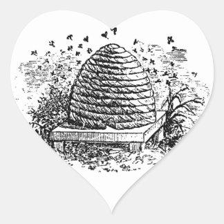 Apicultura das abelhas do mel da colmeia do adesivo coração