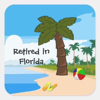 Aposentado em Florida Adesivo Quadrado