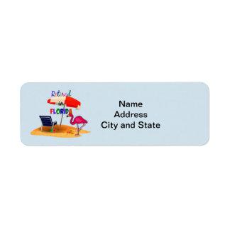 Aposentado em Florida, etiqueta de endereço