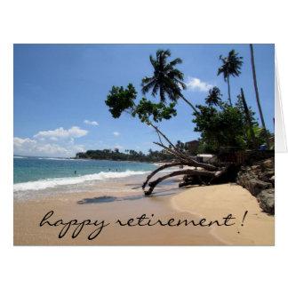 aposentadoria da cena da praia grande cartão comemorativo grande