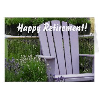 Aposentadoria da foto da cadeira de jardim da cartão comemorativo