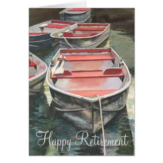 Aposentadoria do barco de fileira cartão comemorativo