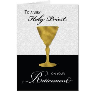 Aposentadoria do padre, cálice do ouro, em preto & cartão comemorativo