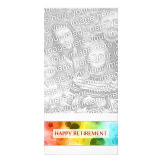 aposentadoria feliz (bokeh do arco-íris) cartoes com foto personalizados