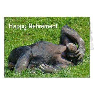 Aposentadoria feliz - cartão do chimpanzé