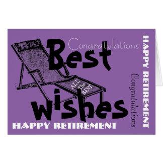 Aposentadoria feliz com Deckchair retro 1 Cartão Comemorativo