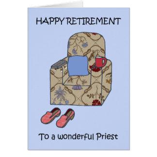 Aposentadoria feliz do padre cartão comemorativo