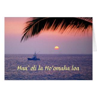 Aposentadoria feliz Hawaiian barco de pesca trop Cartao