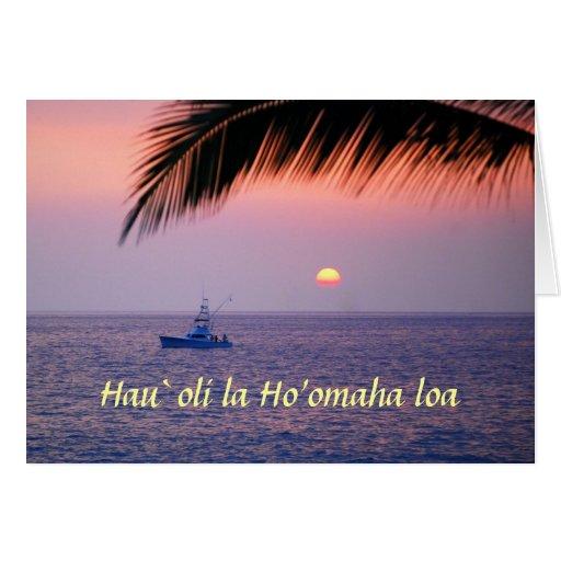 Aposentadoria feliz, Hawaiian, barco de pesca trop Cartao