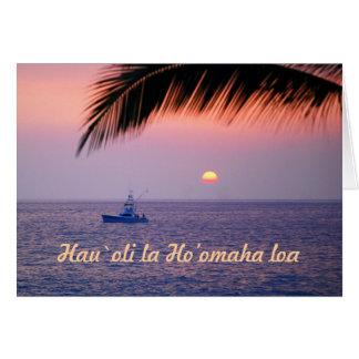 Aposentadoria feliz Hawaiian barco de pesca trop Cartão
