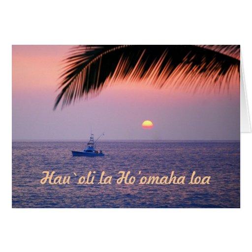 Aposentadoria feliz, Hawaiian, barco de pesca trop Cartão