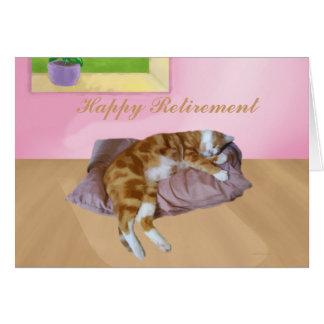 Aposentadoria feliz Napping do gato bonito Cartão Comemorativo