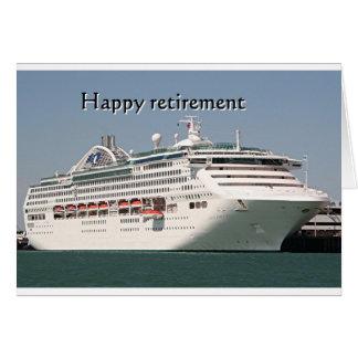 Aposentadoria feliz: navio de cruzeiros 2 cartão comemorativo