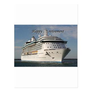 Aposentadoria feliz navio de cruzeiros 3 cartao postal