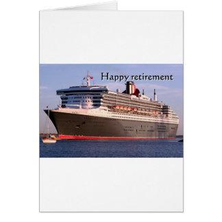 Aposentadoria feliz: navio de cruzeiros cartão comemorativo
