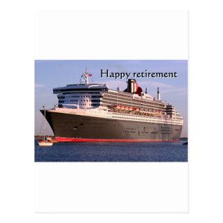 Aposentadoria feliz navio de cruzeiros cartao postal