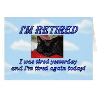 Aposentadoria feliz que deixa o gato do sono do tr cartão