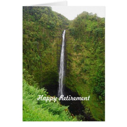 Aposentadoria feliz, quedas de Akaka, Havaí, cartã Cartões