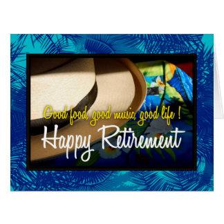 Aposentadoria feliz tropical no cartão azul do XL