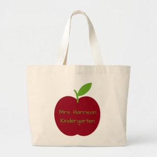 Apple do professor vermelho e verde personalizado sacola tote jumbo