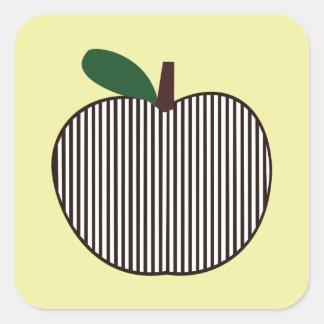 Apple listrado preto e branco adesivo quadrado