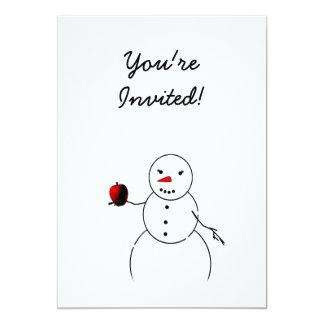 Apple para o professor do boneco de neve pequeno convite 12.7 x 17.78cm