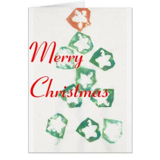 Apple star a árvore de Natal do selo Cartão Comemorativo