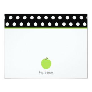Apple verde/preto com bolinhas brancas convite 10.79 x 13.97cm